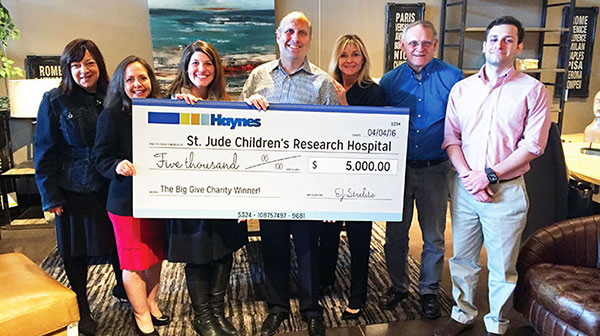 Haynes Donation - St. Jude's Children's Hospital