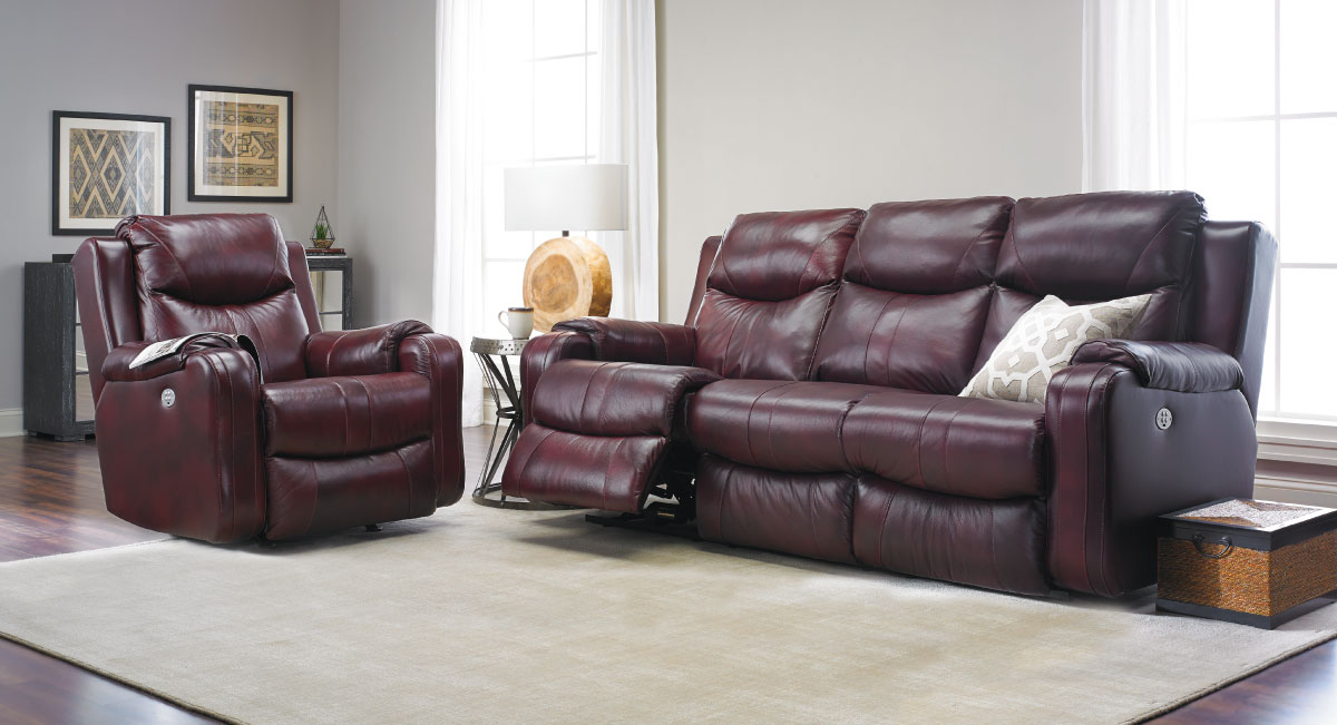 Infinite Motion Leather Power Sofa with Power Headrest ...