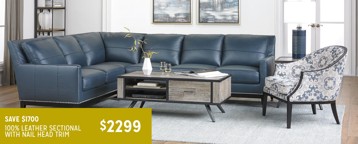 Contemporary Leather Sectional with Nail Head Trim | Haynes ...