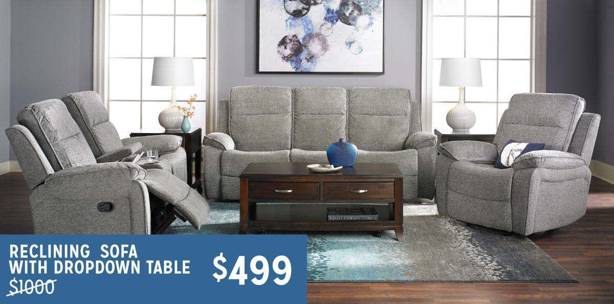 Reclining Sofa With Dropdown Table $499