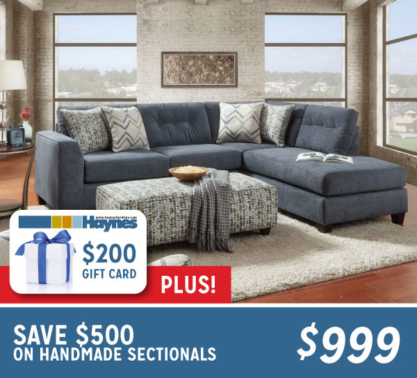 Save $500 On Handmade Sectionals