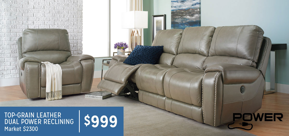 Lasalle Power Reclining 100 Leather Sofa With Nail Head Trim