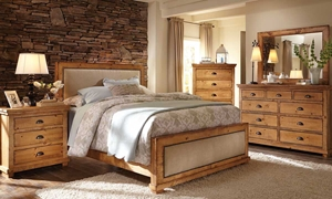 Picture of Willow Pine & Linen Rustic Queen Bedroom