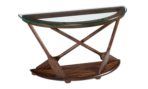 Nautical style console table featuring a glass beveled top & intricate oar designed leg base made with solid hardwood in a warm, rich stained brown finish.