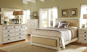 Picture of Willow White Pine & Linen Rustic Queen Bedroom