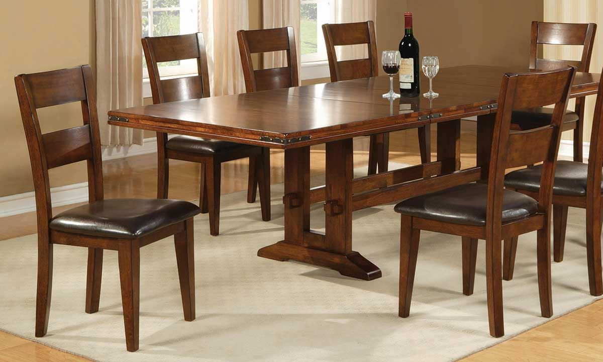 Haynes Furniture Iron Strap Solid Mango Dining Set