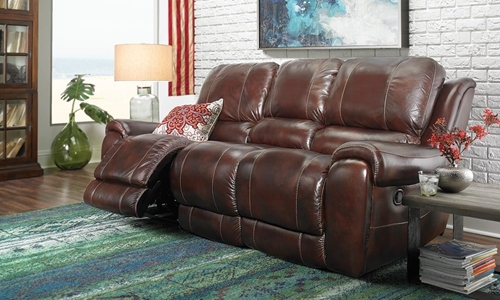 Picture of Burgundy Power Reclining Leather Sofa