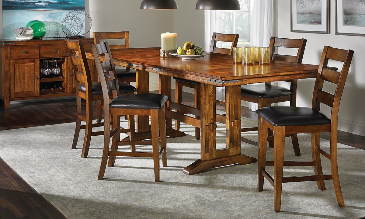 Countertop Dining Room Sets iron strap solid mango counter height dining set | haynes