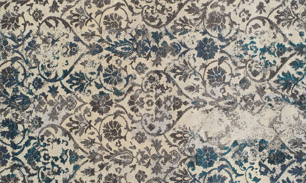 Picture Of Modern Greys Collection Damask Teal 5x8 Rug