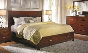 Picture of Brown Cherry Platform Storage Queen Bed