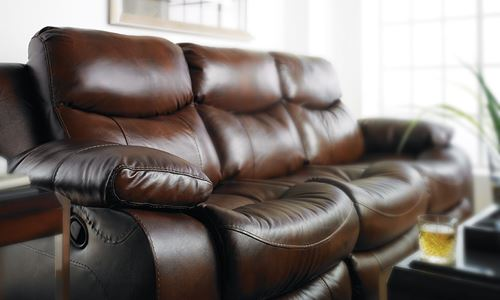 Picture of Tobacco Leather Reclining Sofa