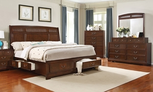 Parkhurst Queen Bedroom Set includes Sleigh Storage Bed with 6 drawers, 8-drawer dresser and mirror in cherry finish