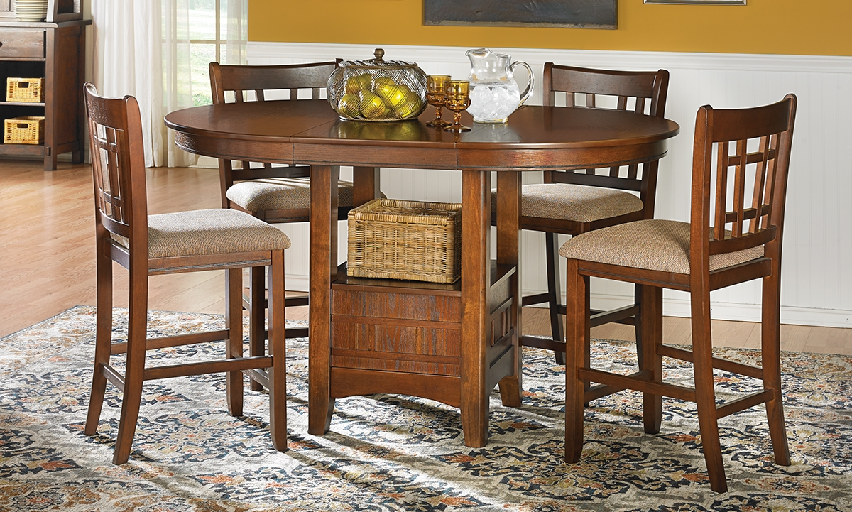 Haynes Furniture Mission Oak Counter Height Dining Set