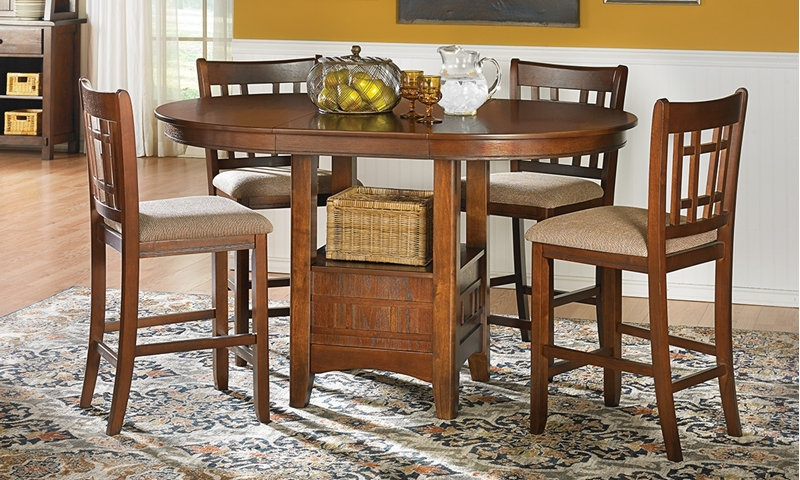 Mission Oak Counter Height Dining Set