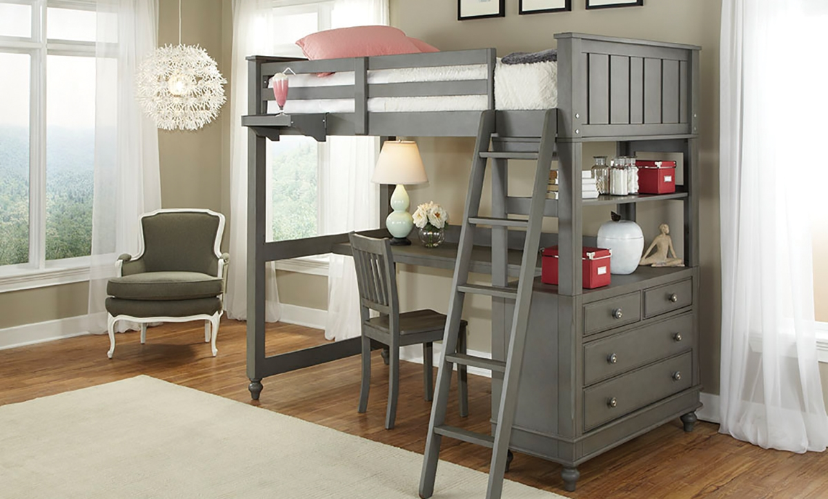 Lakehouse Twin Loft Bed & Desk | Haynes Furniture, Virginia's ...