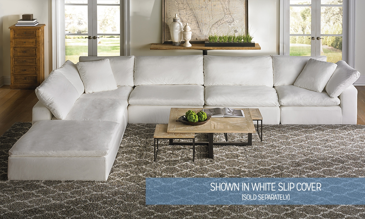 Luxe modular slipcover sectional haynes furniture for Modular living room furniture