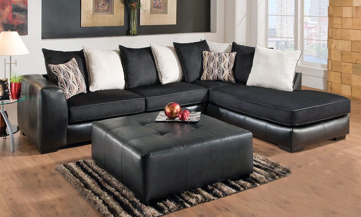 Donna charcoal chaise sectional sofa haynes furniture for Plush sectional sofa with chaise