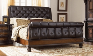 Grand Estates Leather Queen Sleigh Bed with Faux Leather Headboard and Footboard