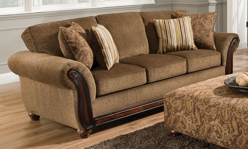Traditional Sofa with Hand Applied Wood Trim and Accent Pillows in Chestnut Brown