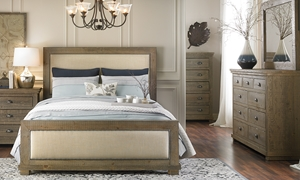 Picture of Willow Grey Pine & Linen Rustic Queen Bedroom