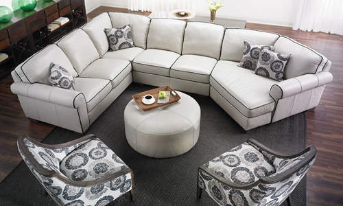 Picture of Leather Cuddler Sectional Sofa