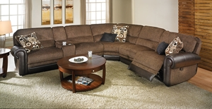 Picture of Triple Reclining Tweed Storage Sectional with USB