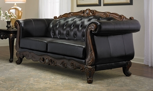 Picture of Josephine Leather Camelback Sofa