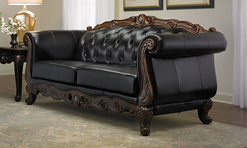 Josephine Leather Camelback Sofa