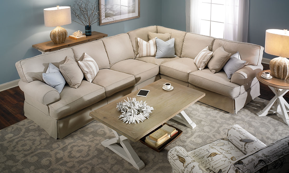 picture of two lanes natural classic slipcovered sectional sofa : lane megan sectional - Sectionals, Sofas & Couches