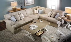 Picture of Two Lanes: Natural Classic Slipcovered Sectional Sofa
