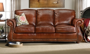 Picture of Rocky Mountain Leather Top Grain Leather Sofa Brandy Alligator