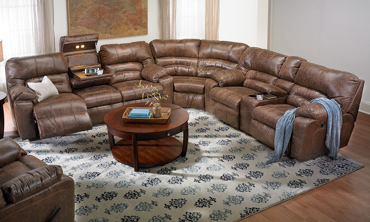 Cappuccino Reclining Storage Sectional Sofa Haynes