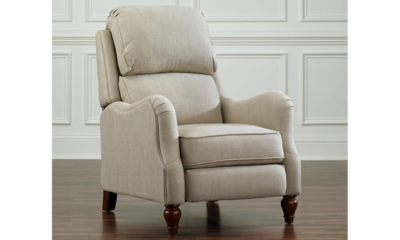 English arm recliner chair in the color beige with hand-tailored upholstery and split back cushions for added lumbar support for a deep recline.