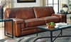 Stampede 91-Inch Top-Grain Leather Contemporary Sofa in Chestnut