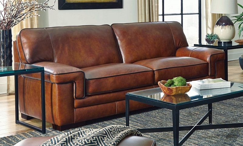 Stampede 91 Inch Top Grain Leather Contemporary Sofa