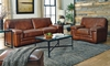 Stampede 91-Inch Top-Grain Leather Contemporary Sofa Set in Living Room with Sofa and Loveseat
