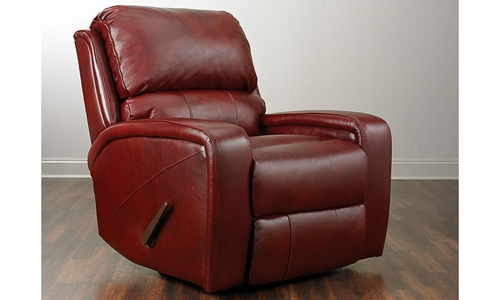 Picture of Crimson Leather Swivel Recliner