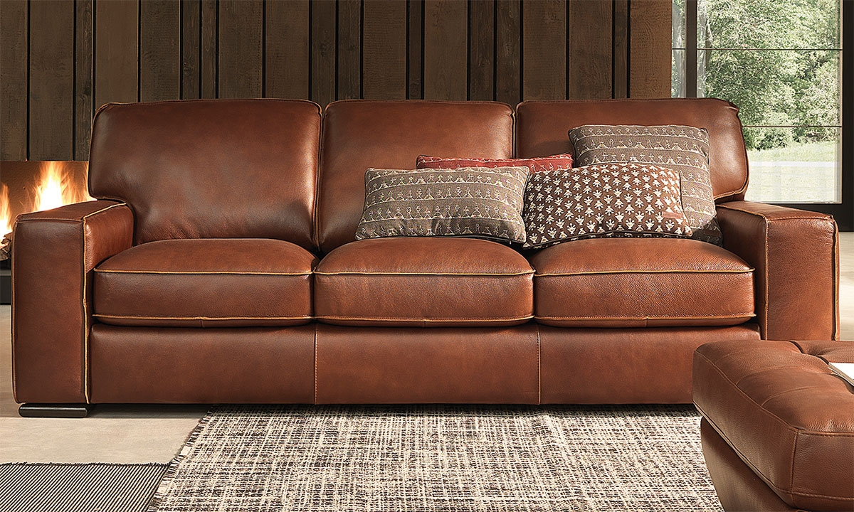 Haynes Furniture Natuzzi Campbell Top Grain Leather Sofa