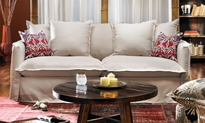 Picture of Chandni Linen Blend Bohemian Skirted Sofa