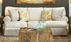 Two Lanes Natural Sofa with Slipcover and Roll Arms