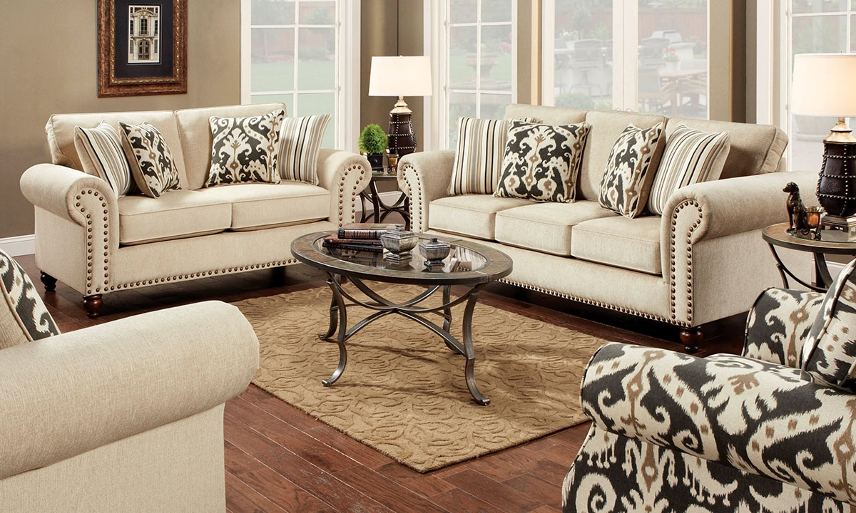 Picture Of Classic Roll Arm Sofa With Nail Head Trim