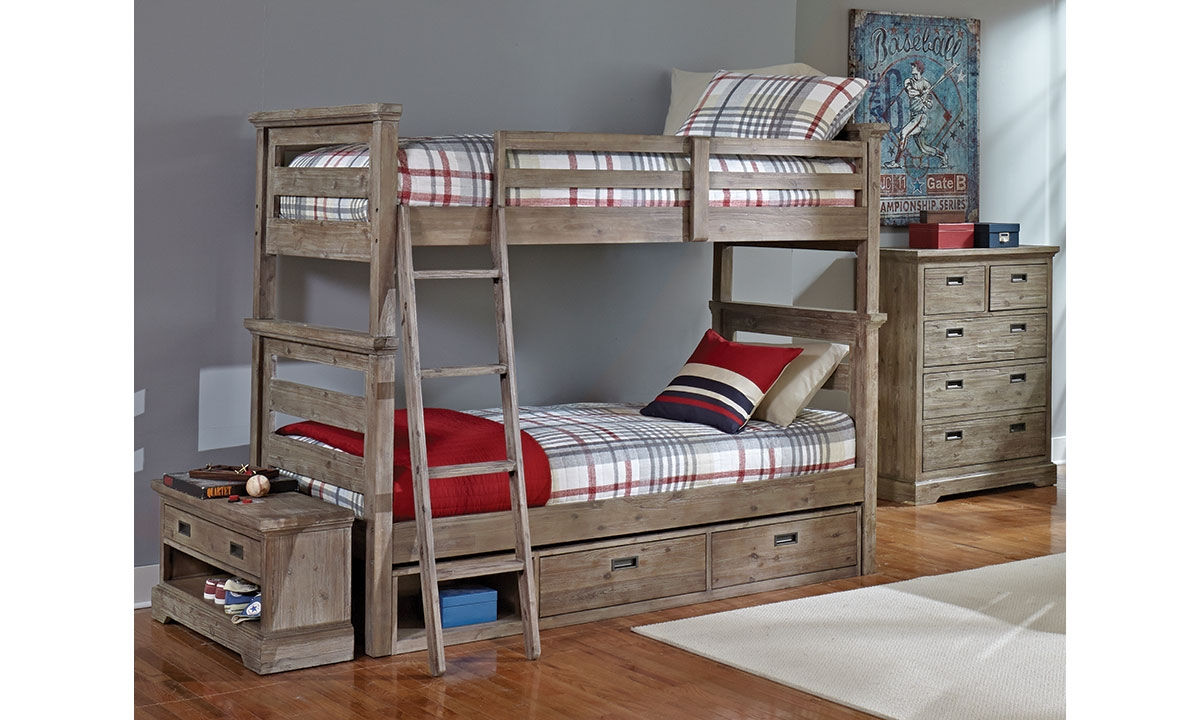 Oliver Solid Acacia Twin Over Twin Bunk Bed Haynes Furniture