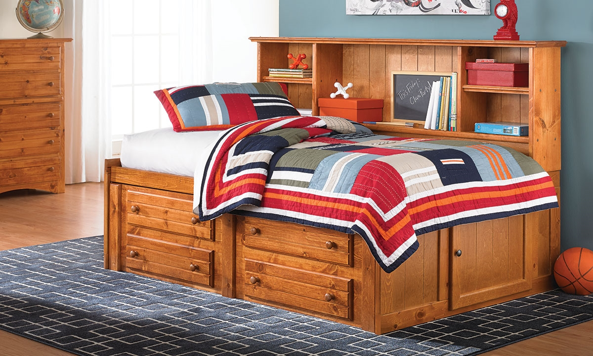 Picture of Cheyenne Solid Pine Twin Captain's Bed - Cheyenne Solid Pine Storage Bed With Bookcase Headboard Haynes