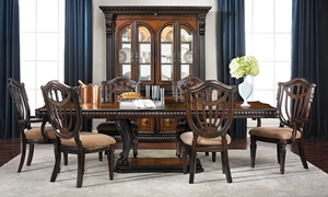 Grand Estates 5-piece Dining Set with Pedestal Table with 2 expansion leaves and 4 side chairs in cinnamon finish