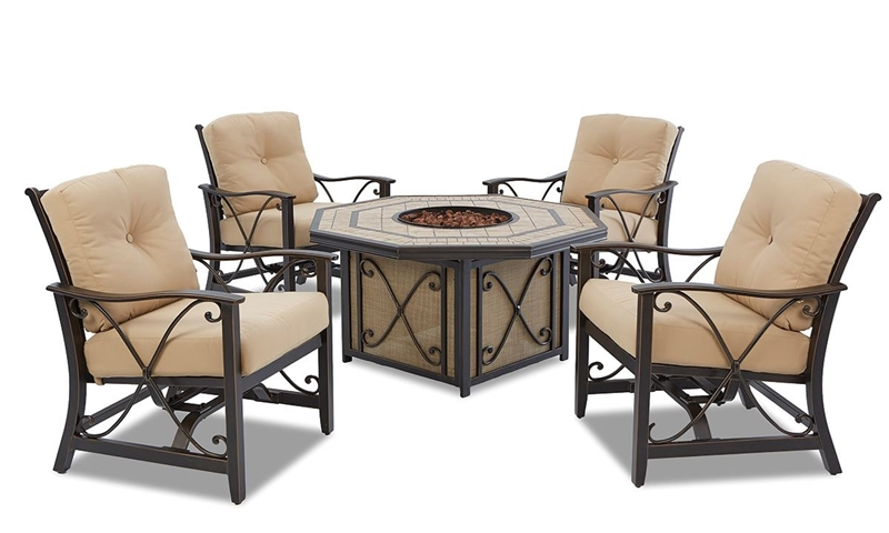 Picture of Solaris 6-pc Patio Dining Set with Outdoor Fire Pit Table
