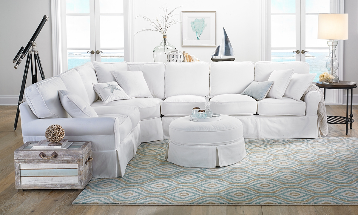 Two Lanes Peyton Roll Arm Slipcovered Sectional | Haynes ...