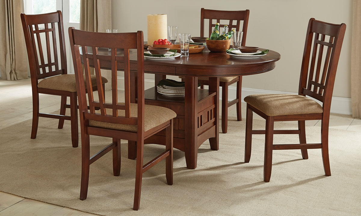 Picture Of Mission Oak Round Pedestal Dining Set