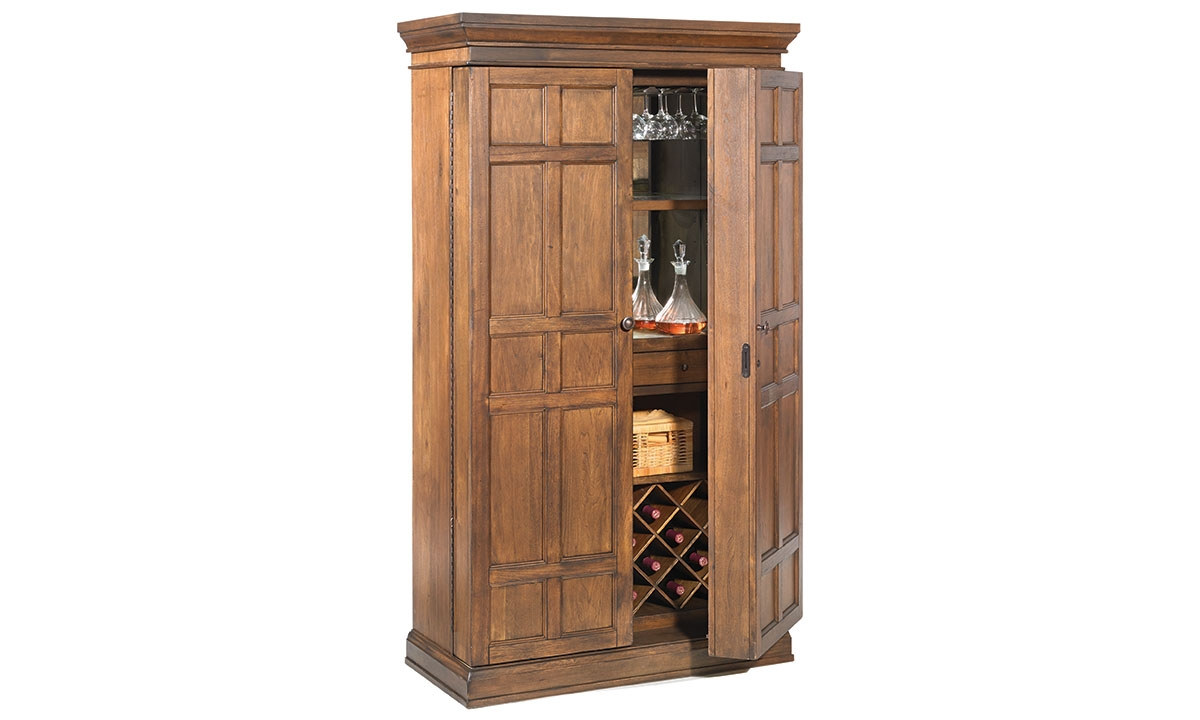 Picture Of Savannah 2 Door Walnut Bar Armoire U0026 Wine Cabinet