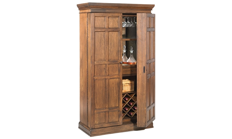 Picture of Savannah 2-Door Walnut Bar Armoire & Wine Cabinet