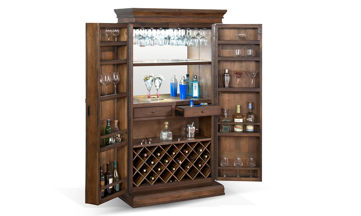 Merveilleux ... Picture Of Savannah 2 Door Walnut Bar Armoire U0026 Wine Cabinet